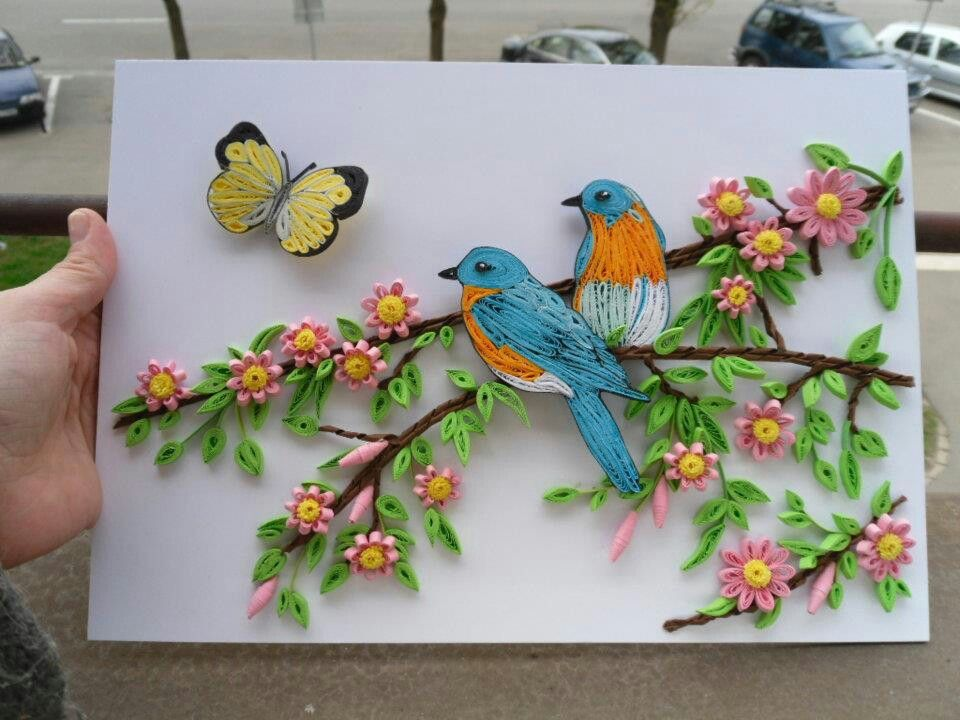 Beautiful Composition Of Quilled Flowers Birds Butterfly By