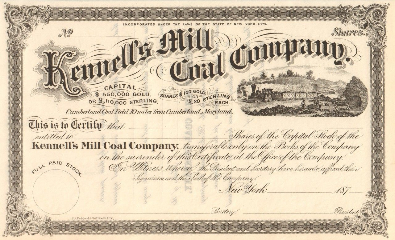 Kennell S Mill Coal Company Stock Certificate Circa 1873