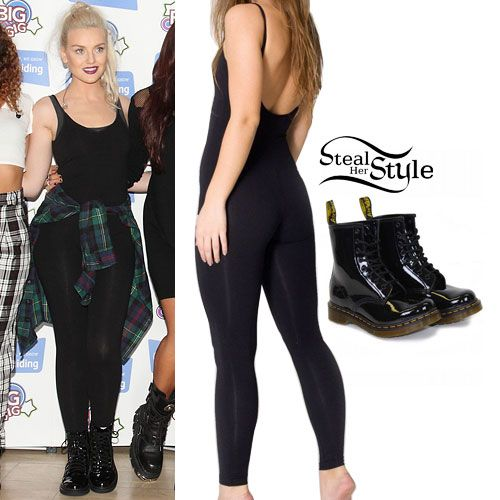 Perrie Edwards performed at the 2013 Girlguiding Big Gig today with her bandmates wearing an American Apparel Cotton Spandex Jersey Unitard ($38.00) with her Dr Martens 1460 Boots ($120.00) and a checked shirt wrapped around her waist. Bandmate Leigh Anne Pinnock also owns this bodysuit in White.