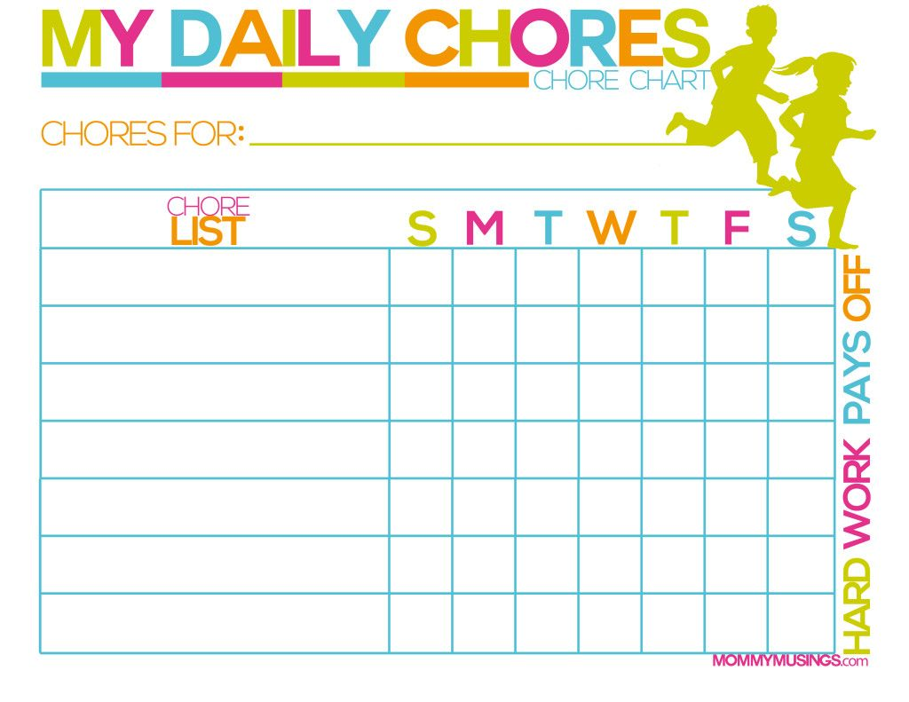 Free Printable Kids Chore And Rewards Chart