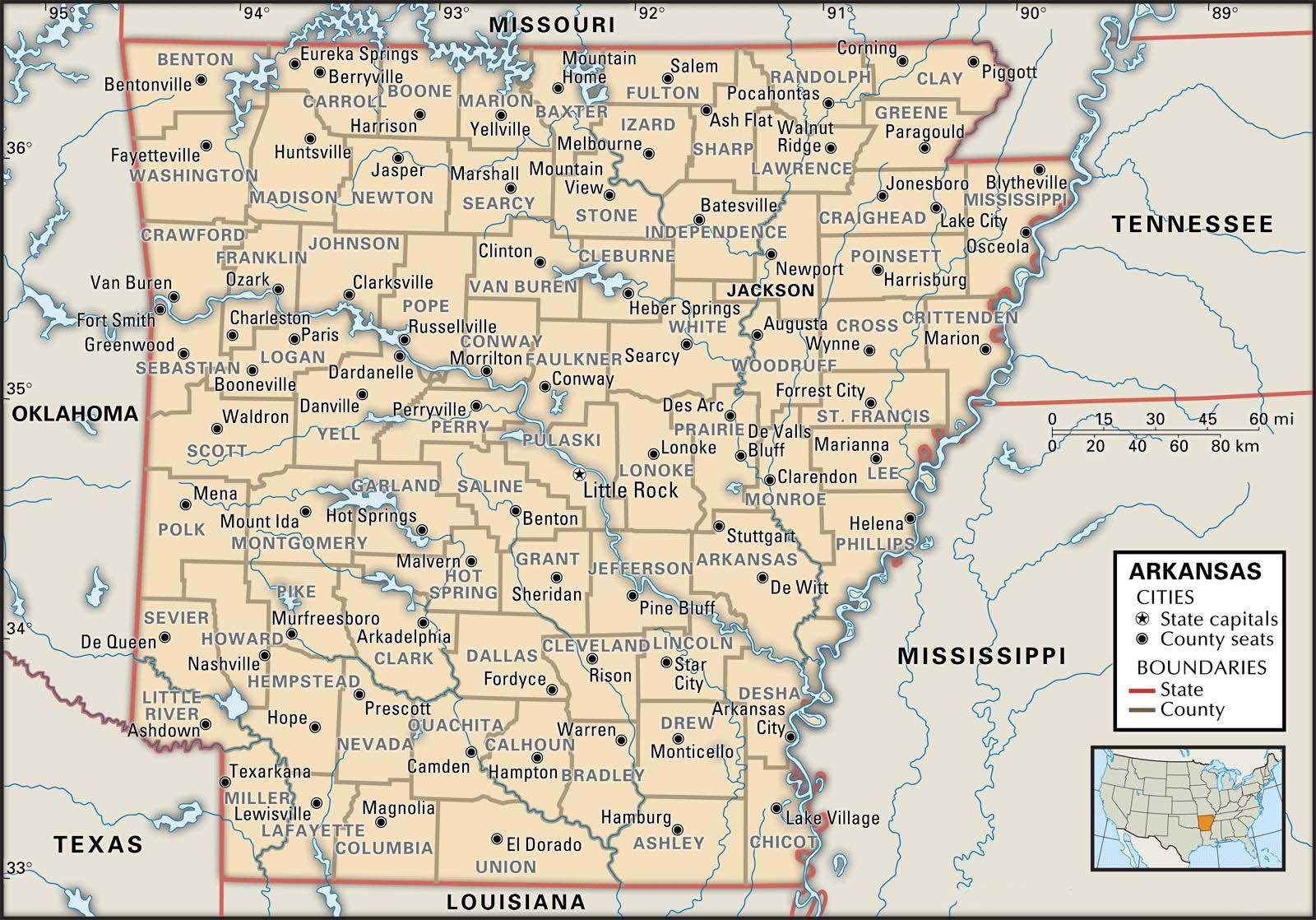 Arkansas Atlas Map Map Of Arkansas County Boundaries And
