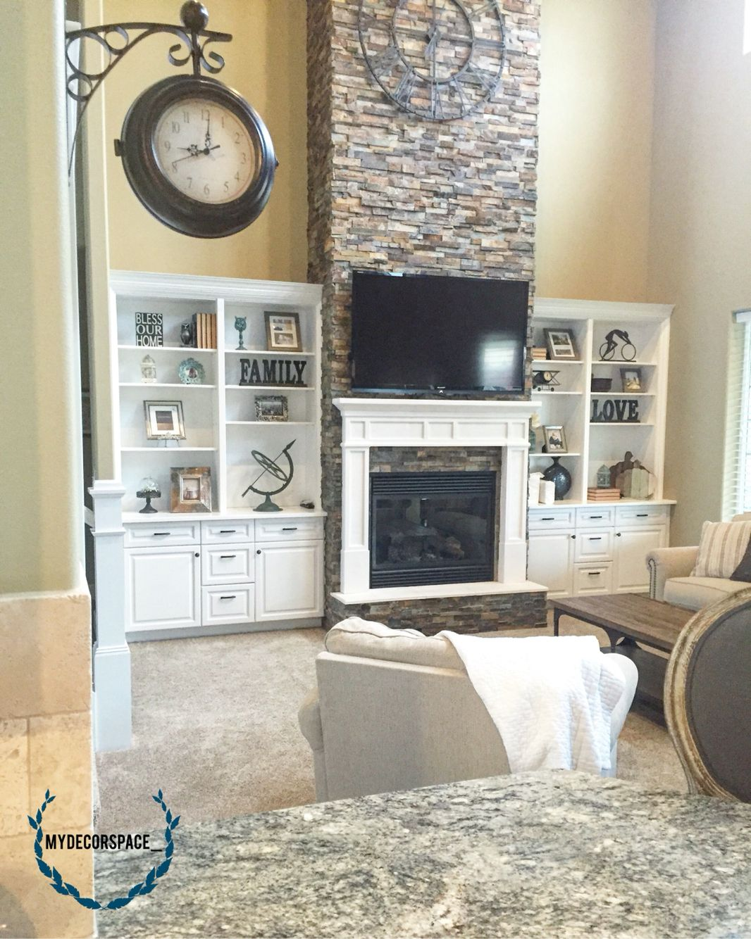 Great room living room family room fireplace rock mantle ...