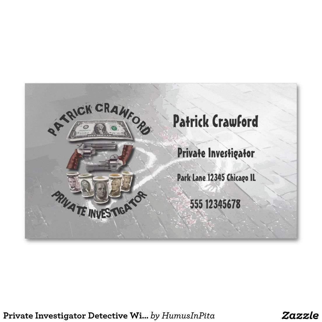 Private Investigator Detective With Guns And Money Business Card ...