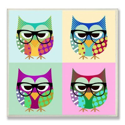 Stupell Industries The Kids Room Owls Wearing Eyeglasses Graphic Art Wall Plaque