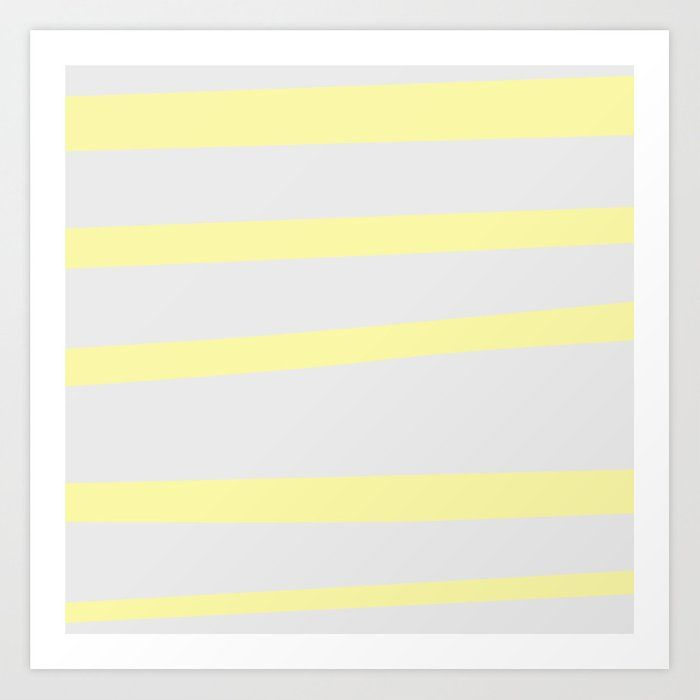 Yellow and Gray Stripe, Minimalist Art Print by ch