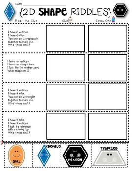 shape math riddles for 2d shapes kindergarten and first grade tpt math lessons teaching math. Black Bedroom Furniture Sets. Home Design Ideas