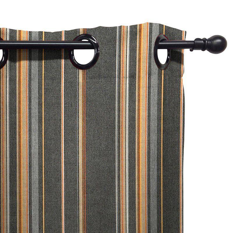 Eddie Bauer Sunbrella Outdoor Drape   Grommet Top Stanton Greystone    11575A E58002