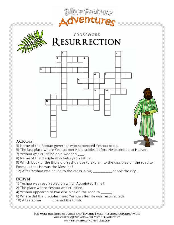 graphic about Printable Sunday Crossword Puzzle titled Bible Crossword Puzzle: Resurrection Christian Puzzles