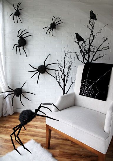 Spiders Crawling Up the Wall Scene #halloween #props #decorations