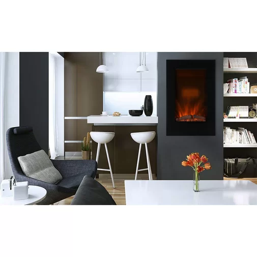 Troncoso Vertical Wall Mounted Electric Fireplace Avec Images
