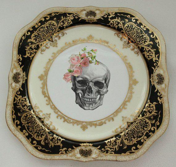 Black And Gold Skull Halloween Plate 7 5 Square Halloween Dish Noritake Dinnerware Goth Plate Bla Halloween Plates Halloween Dinnerware Halloween Dishes