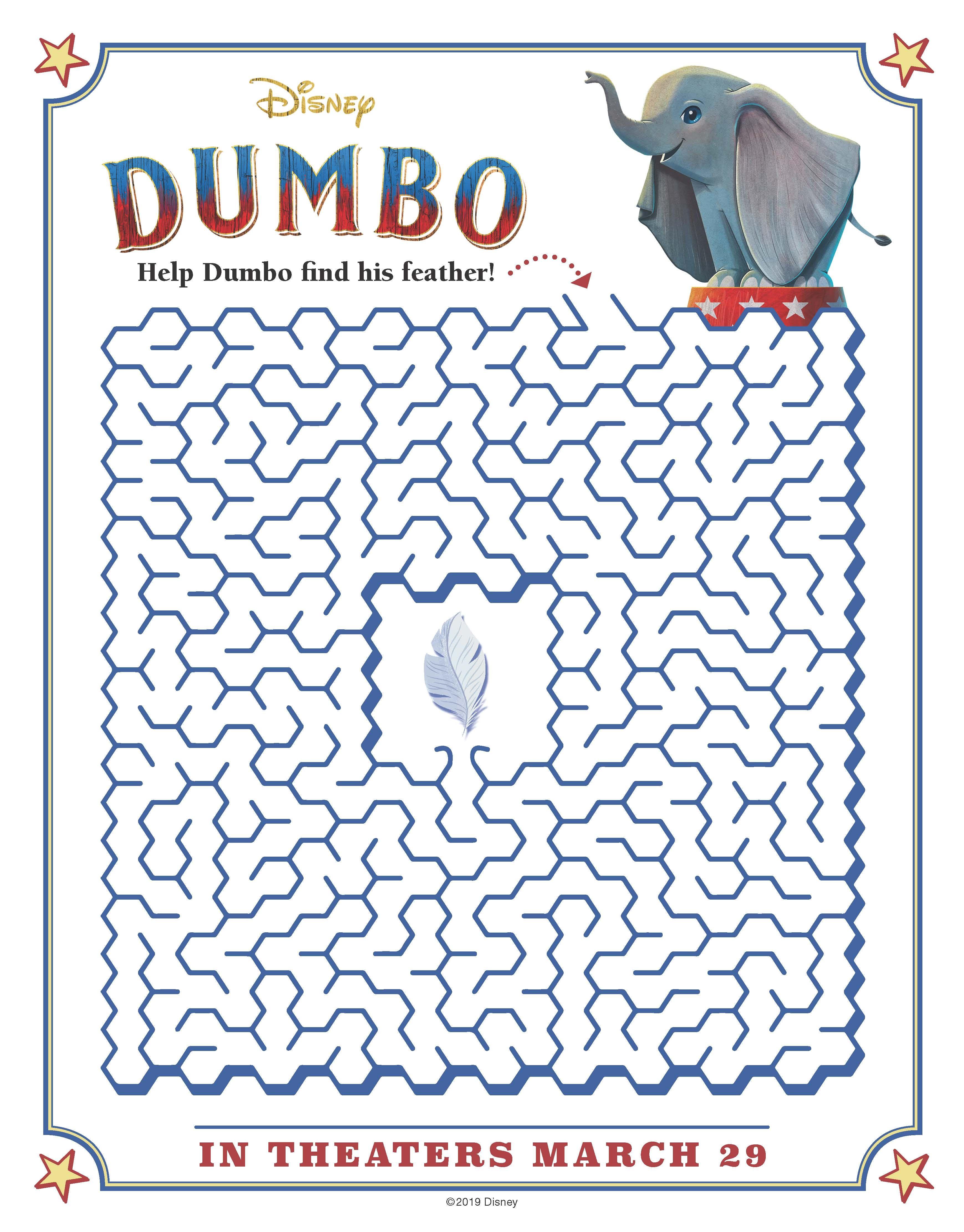 Free Printable Disney Dumbo Maze Activity Page