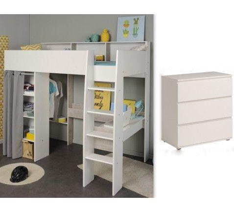 Hochbett mit Kommode 90x200cm weiß grau Schreibtisch