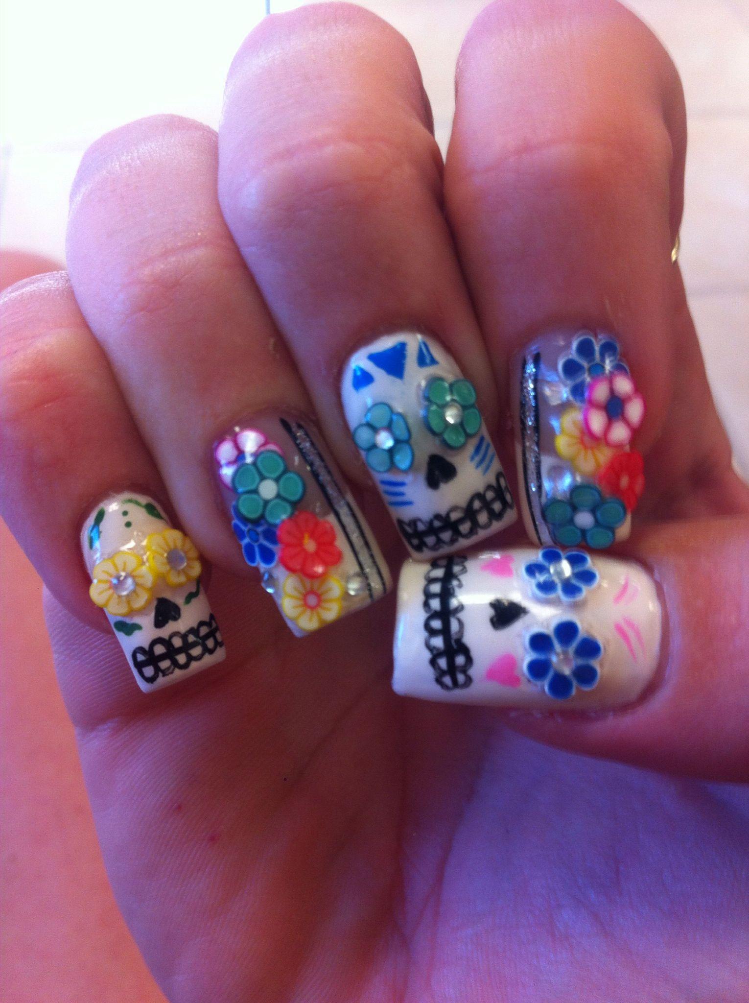 Dia de los Muertos Nails ♥ | Arte uñas | Pinterest | Nail nail ...