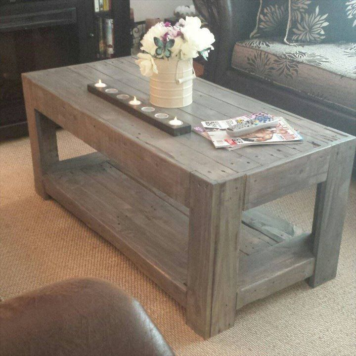 Diy rustic pallet coffee 720 720 pixels crafts for Pallet coffee table instructions
