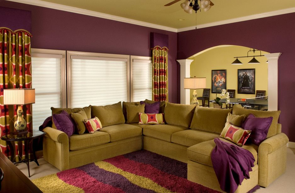Appealing Purple Living Room Wall Colors Schemes With Beautiful Curtains And Green U Shaped Purple Living Room Living Room Colors Paint Colors For Living Room