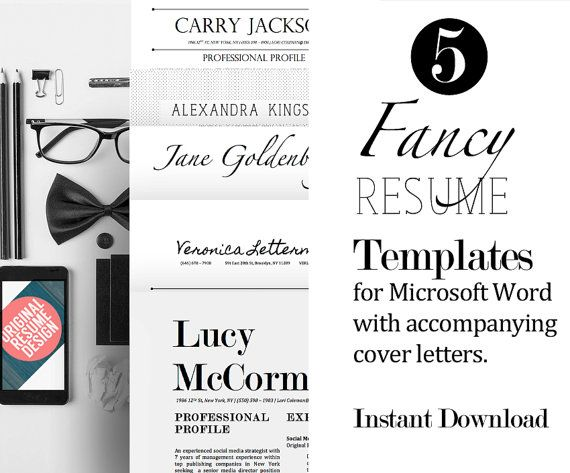 5 Fancy Resume Templates with Matching Cover Letters for Microsoft - fancy resume