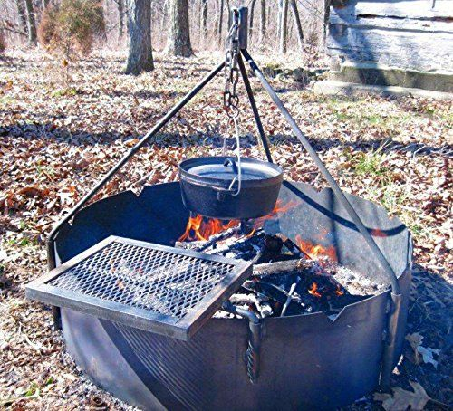 36 Steel Fire Ring Tri Pod Swing Grate Amazon Best Buy Firepits With Images Fire Ring Fire Pit Cooking Cool Fire Pits