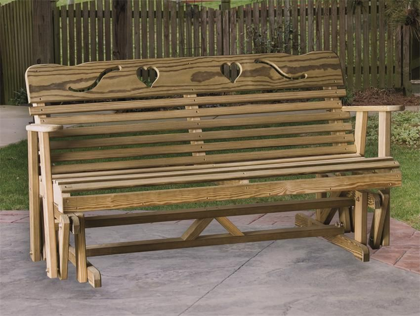 Amish Pine Wood Glider Bench With Cutout Hearts Madeinusa