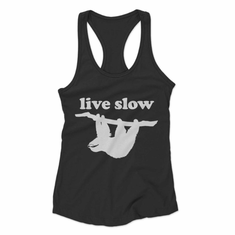 Live Slow Cute Sloth Vintage Distressed Design Women's Racerback Tank #cutesloth