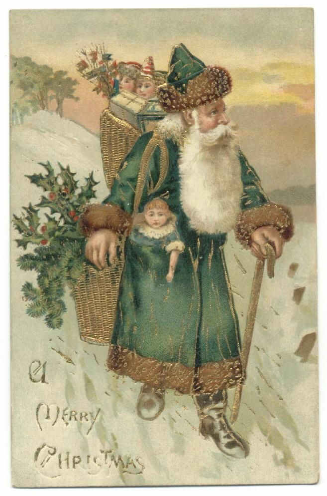 green Santa Christmas graphics, Vintage christmas