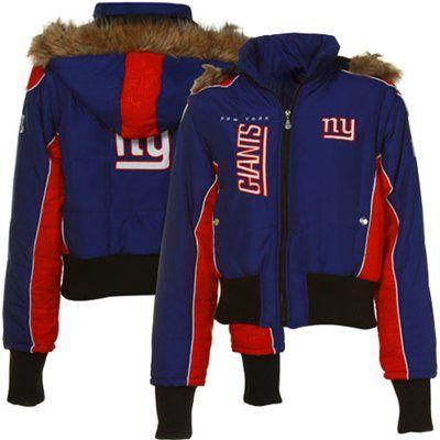 New York Giants Ladies Royal Blue-Red Blitz Parka Jacket