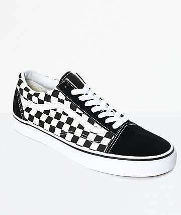 12d7b9f601cb Vans Old Skool Black   White Checkered Skate Shoes