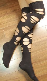 a70bb2ec9d1 glp black ripped gothic thigh high socks