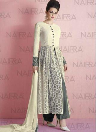 4e28dffad0 White Grey Embroidery Work Net Khadi Print Designer Pakistani Palazzo Suit  #Anarkali #Churidar #