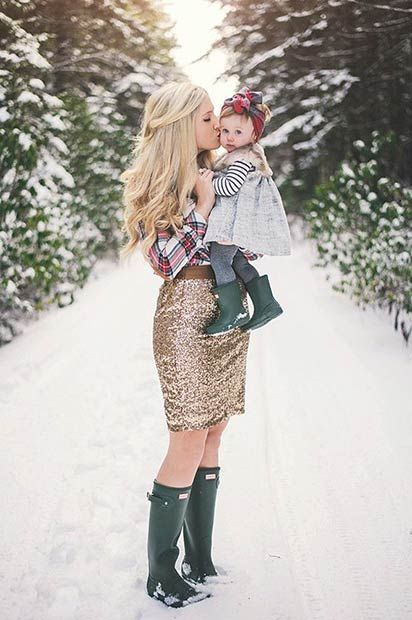 Gold Sequin Skirt Flannel Shirt Christmas Outfit - 39 Cute Christmas Outfit Ideas Cute Christmas Outfit Ideas