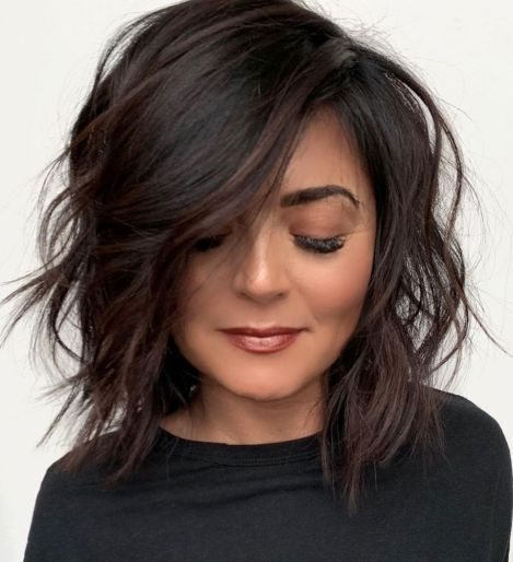 60 Inspiring Long Bob Hairstyles And Haircuts In 2020 Short Textured Hair Thick Hair Styles Hair Styles
