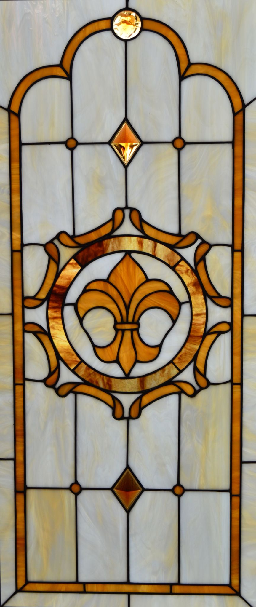 Custom Stained Glass With Fleur-de-lis Design