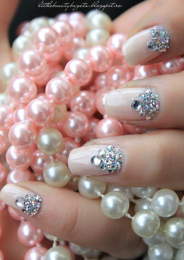 100 delicate wedding nail designs sparkly nails pearls and 100 delicate wedding nail designs prinsesfo Image collections