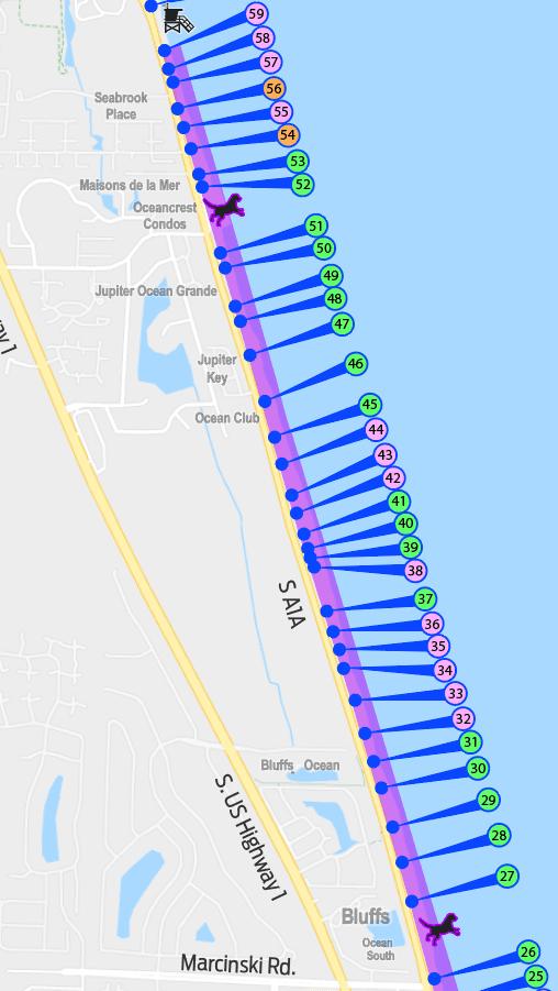 Jupiter Florida Map.Dog Friendly Beach In Jupiter Fl 2 5 Miles United States Of