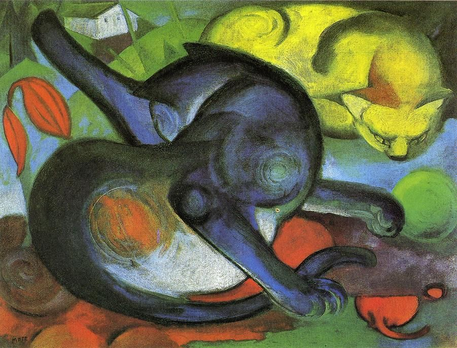 Franz Marc - Two Cats, Blue and Yellow, 1912