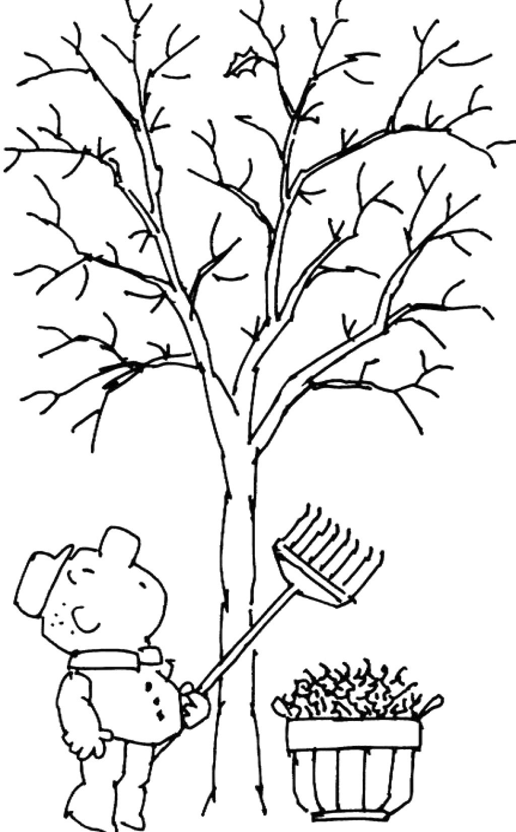 Tree without leaves coloring page to print and download for kids for ...