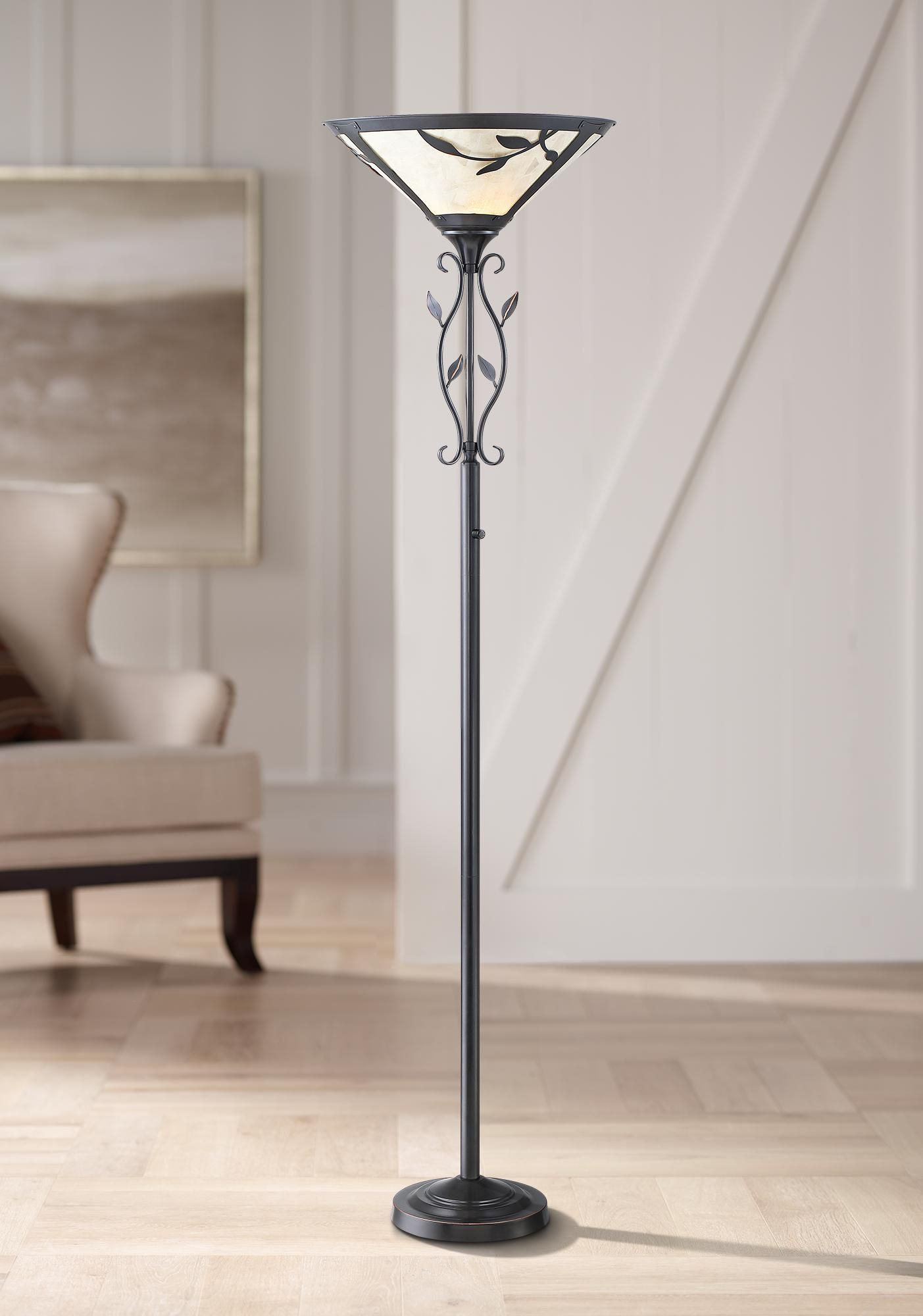 Floor Lamps Feuille Leaf And Vine Mica Shade Torchiere Floor Lamp In 2020 Torchiere Floor Lamp Floor Lamp Tiffany Floor Lamp
