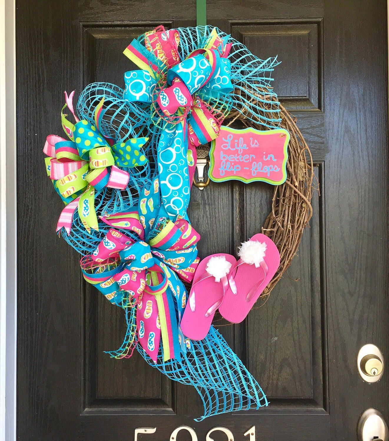 A Personal Favorite From My Etsy Shop Https Www Etsy Com Listing 274084784 Flip Flop Wreath