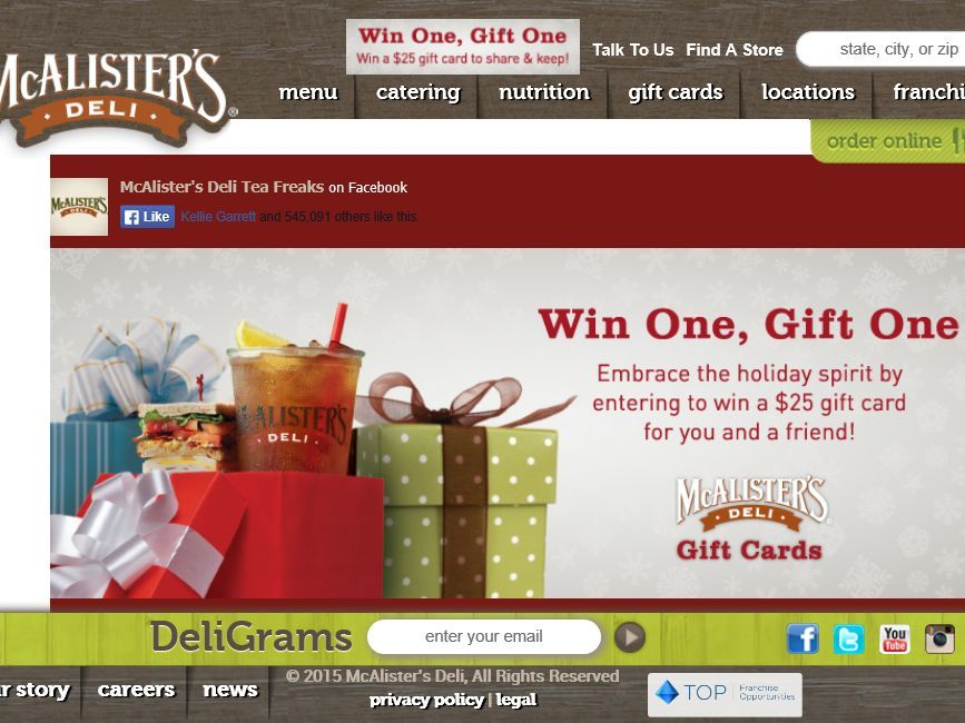 Enter the McAlister's Deli Win One, Gift One Sweepstakes for a ...