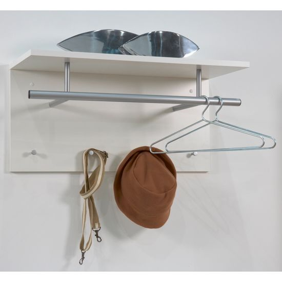 Spot White Wall Mounted Coat Rack with Shelf  [441-001-WHT]