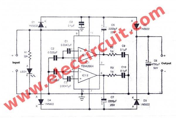 Simple 12v To 24v Step Up Converter Circuit Using Tda2004 Eleccircuit Circuit Diagram Circuit Design Circuit