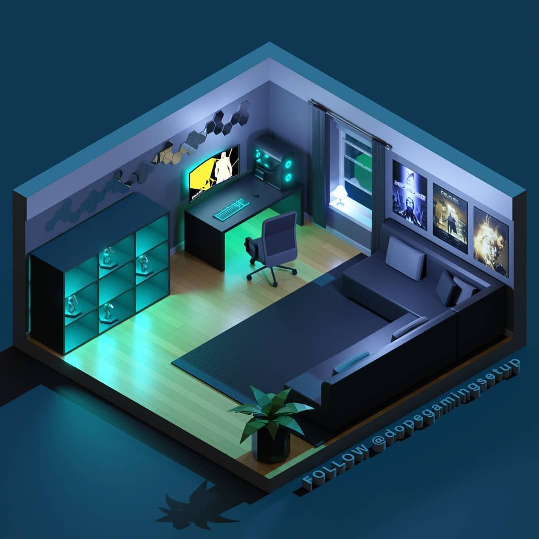 Gaming Setups 3d Models On Instagram Our Client 323k131 Exe Is A Deus Ex Fan And Wanted His Roo Game Room Design Small Game Rooms Video Game Room Design