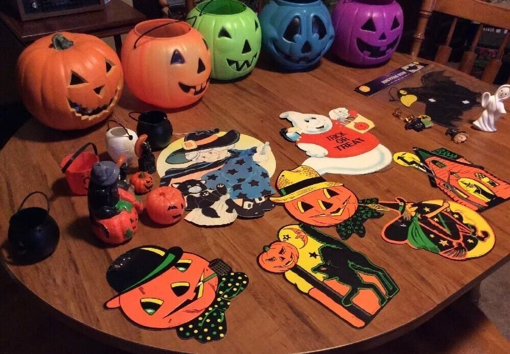 Vintage Halloween Decorations, candle, candy cup, blow mold Die cut - vintage halloween decorations ebay