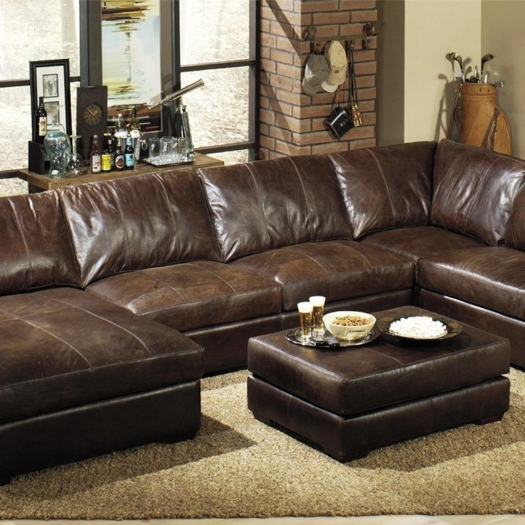 Extra Deep Leather Sectional Sofa