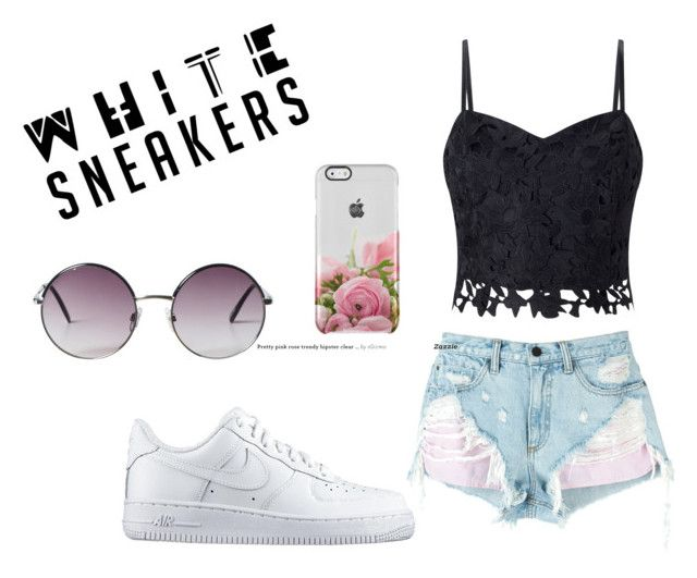 """""""White Sneakers"""" by brooke-williams-4 ❤ liked on Polyvore featuring NIKE, Lipsy, Alexander Wang and Monki"""