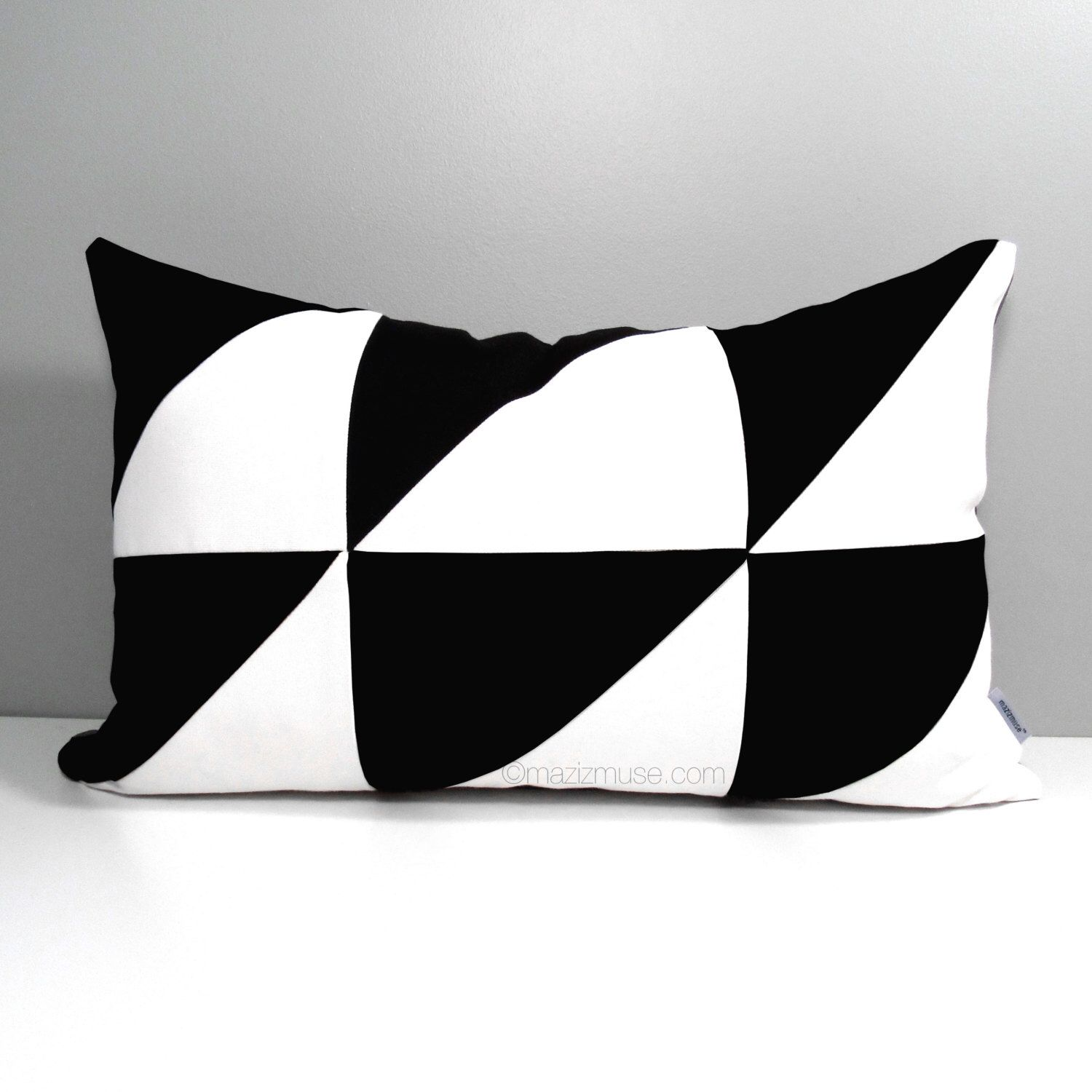 Black White Outdoor Pillow Cover Modern Color Block Decorative