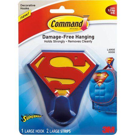 Command Superman Hook, 1 Large Hook, 2 Strips, 17104, Blue