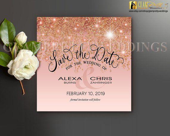 Rose Gold Glitter Save The Date Card Pastel Glam Copper Bronze Faux Sparkle Diy Printabl