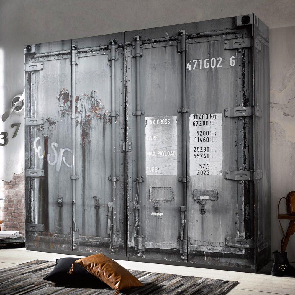 Good Details zu Kleiderschrank Container Schrank in grau Industriedesign Vintage Loftm bel