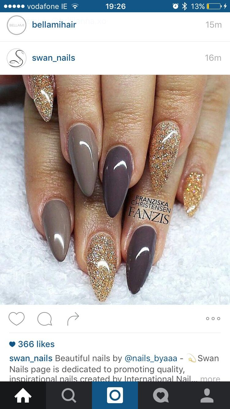 I absolutely love the color on the middle and ring fingers. Great for the  fall! - Pin By Lonewolfmedia Llc On Nails Pinterest Pointy Nails, Nail